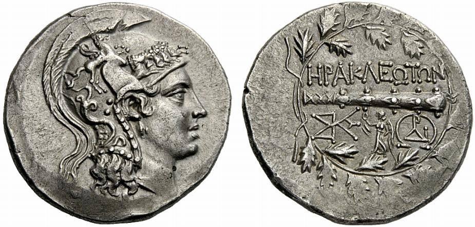 Herakleia Latmos'un yaklaşık M.Ö. 160-145 yılları arasında bastığı çelenkli tabir edilen fotoğraftaki tetradrahmi.